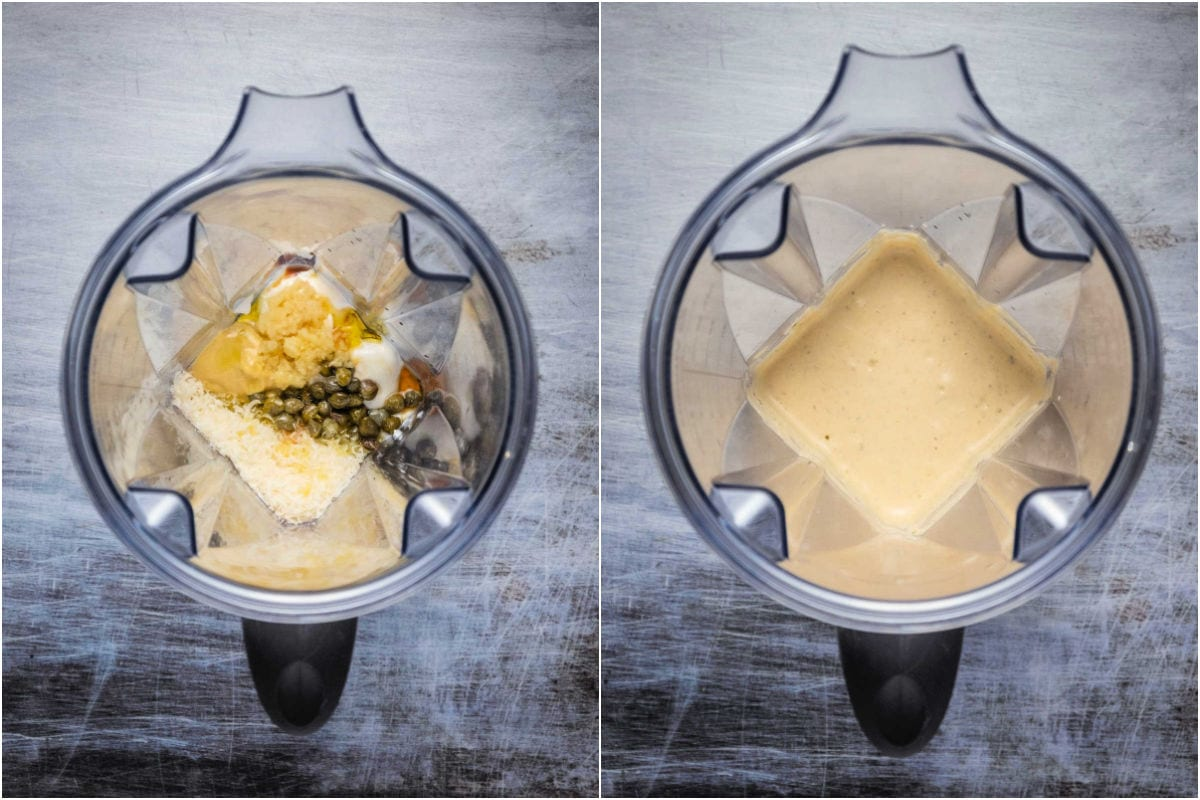 Two photo collage showing ingredients in a blender and then blended.