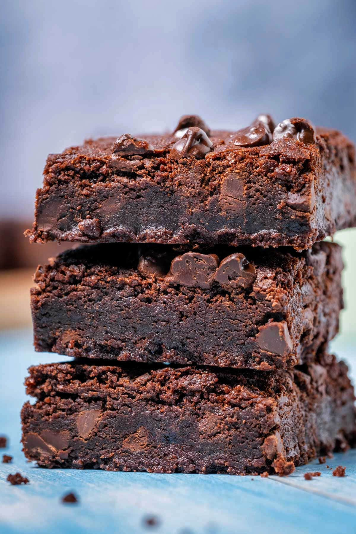 Eggless brownies in a stack.