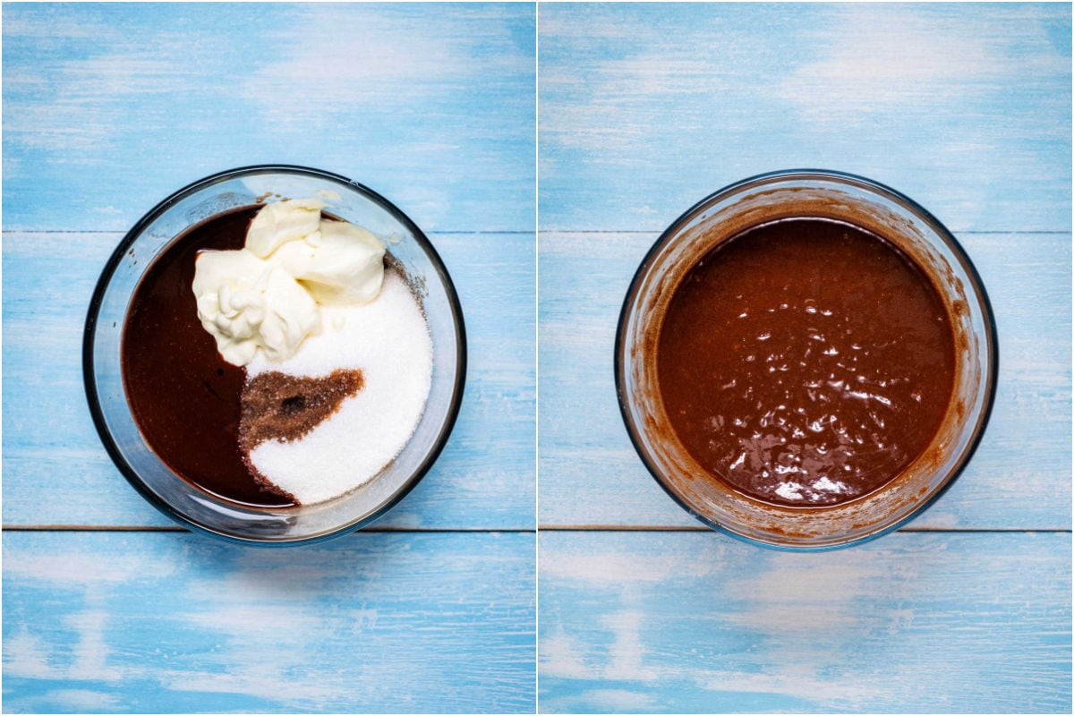 Two photo collage showing sugar, Greek yogurt and vanilla added to melted butter and chocolate and whisked in.