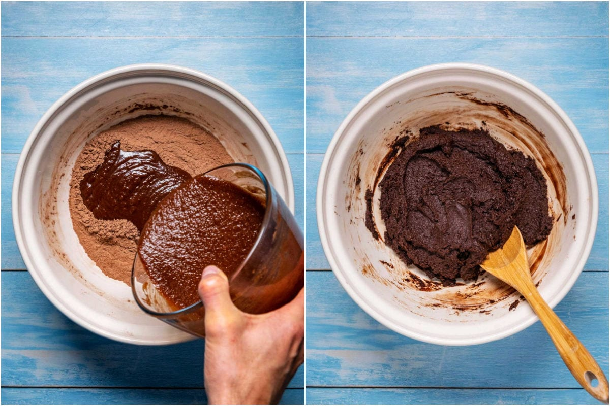 Two photo collage showing wet ingredients added to dry and mixed in.