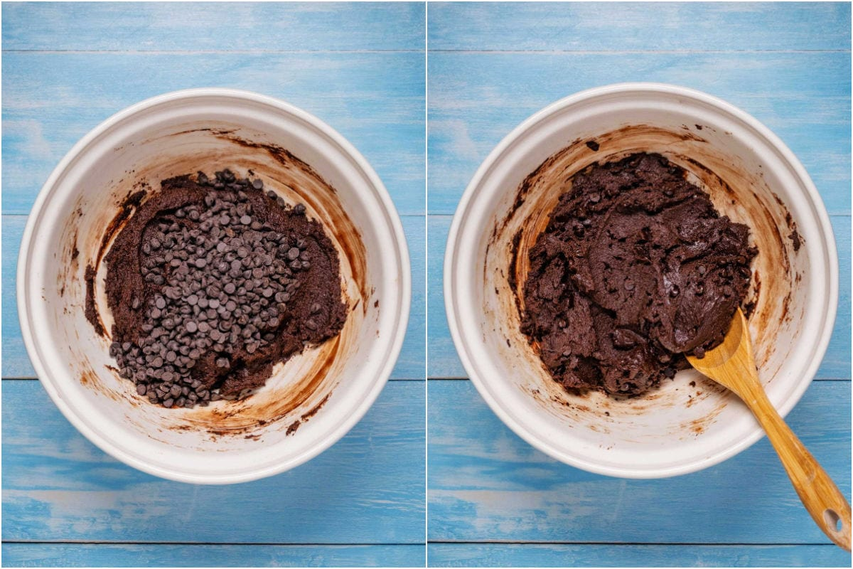 Collage of two photos showing chocolate chips added to batter and mixed in.