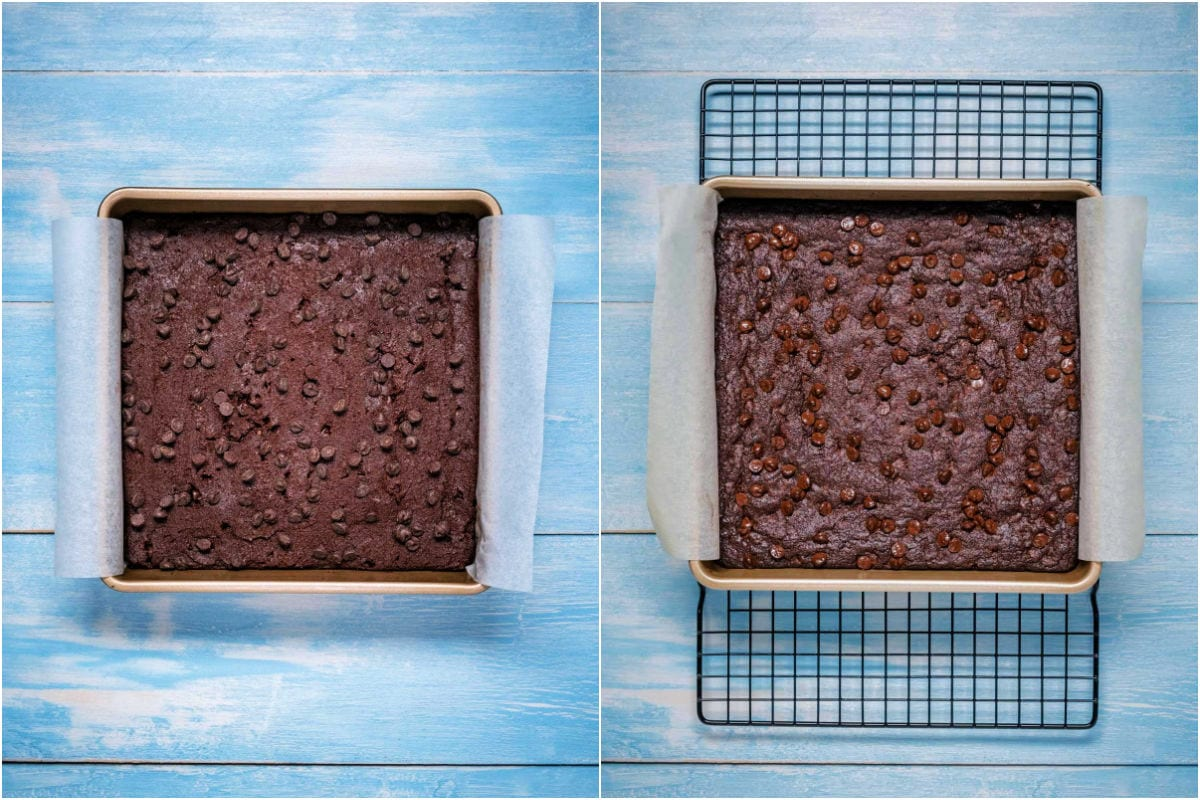 Two photo collage showing brownies before and after baking.