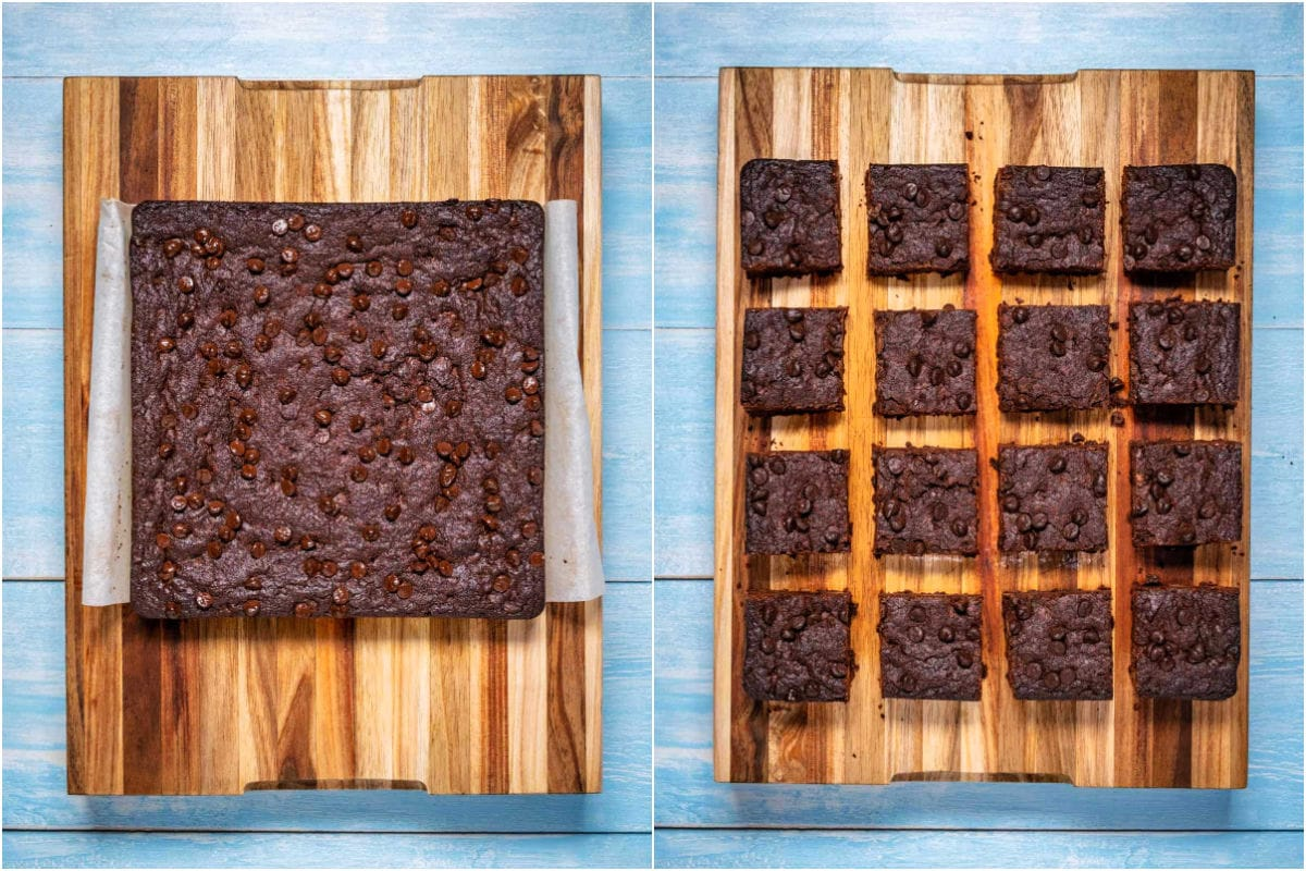 Collage of two photos showing brownies on a wooden board and then cut into squares.