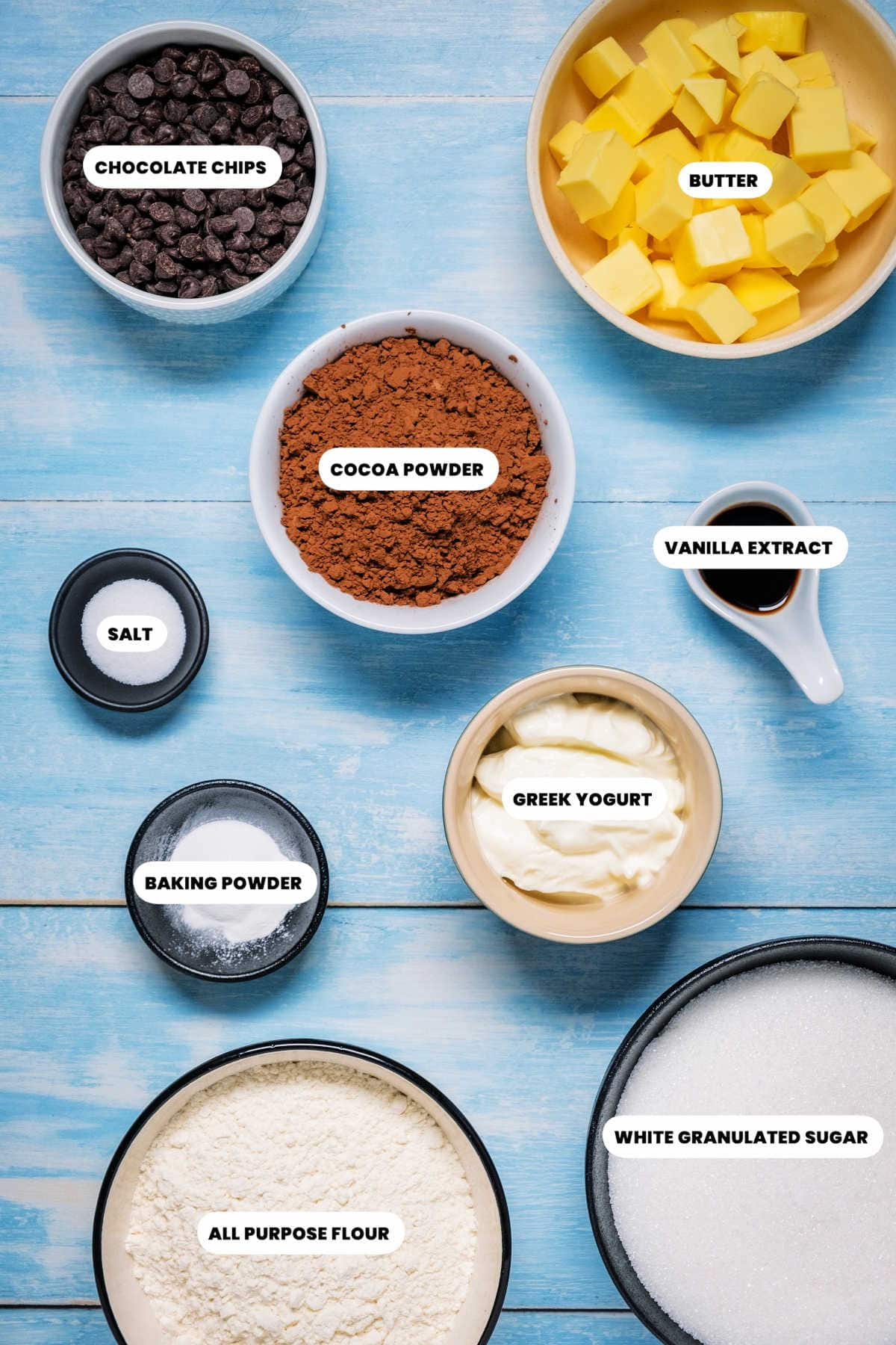 Photo of the ingredients needed to make eggless brownies.
