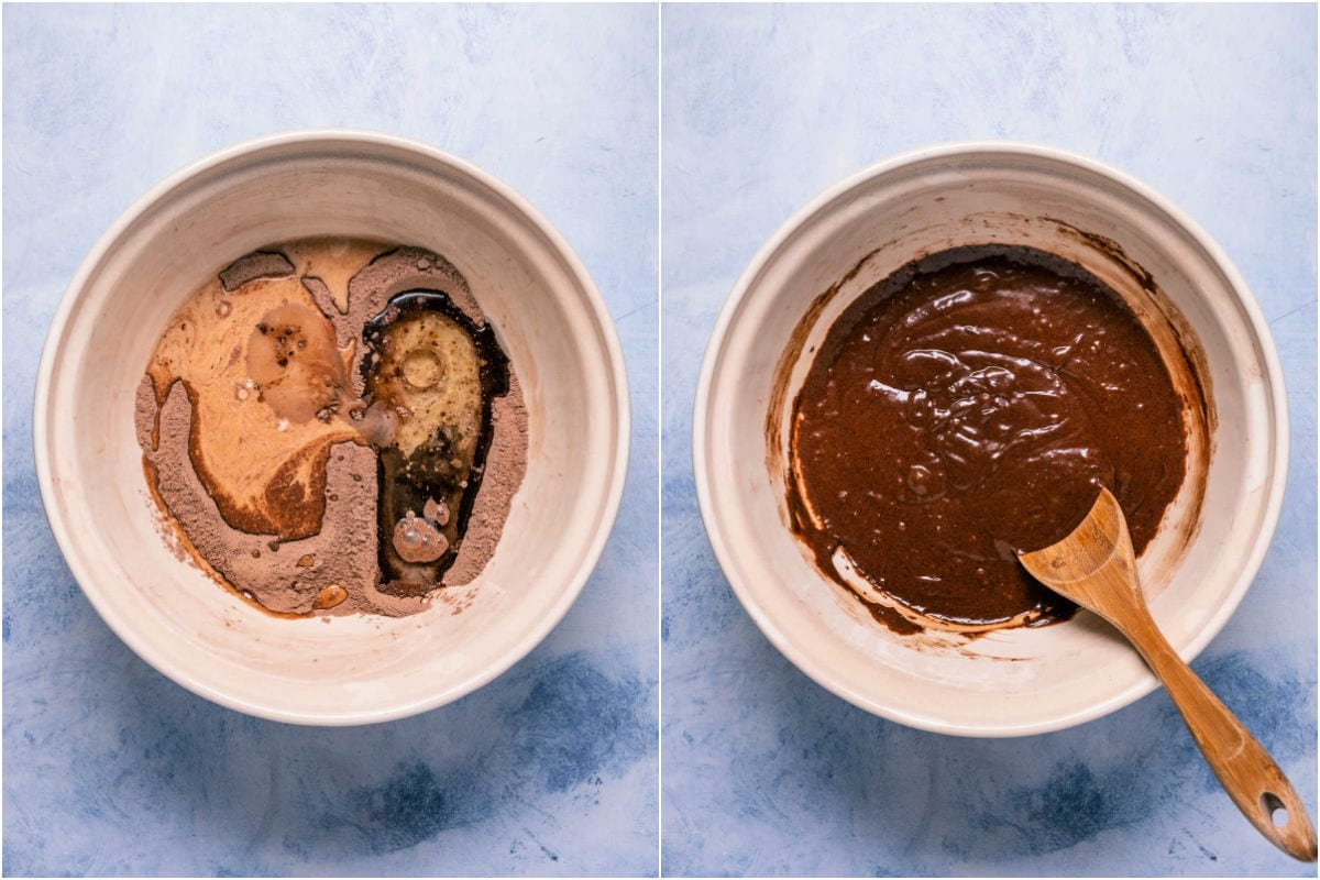 Two photo collage showing wet ingredients added to mixing bowl and mixed in.