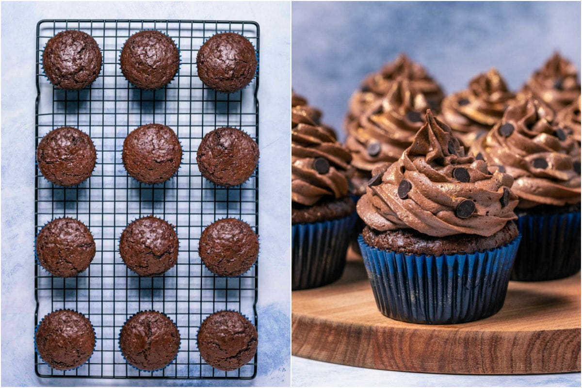 Two photo collage showing cupcakes cooling on wire cooling rack and then frosted and decorated.