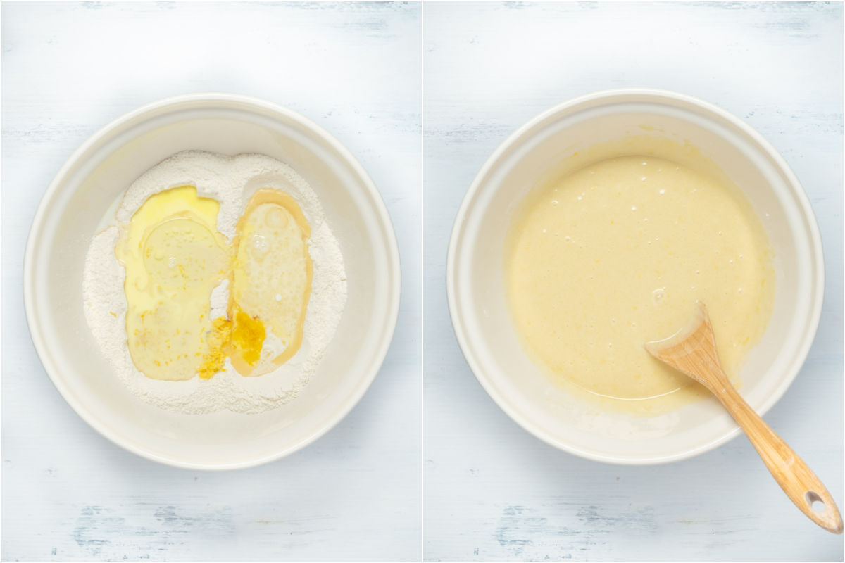 Two photo collage showing wet ingredients added to mixing bowl and mixed into a cake batter.