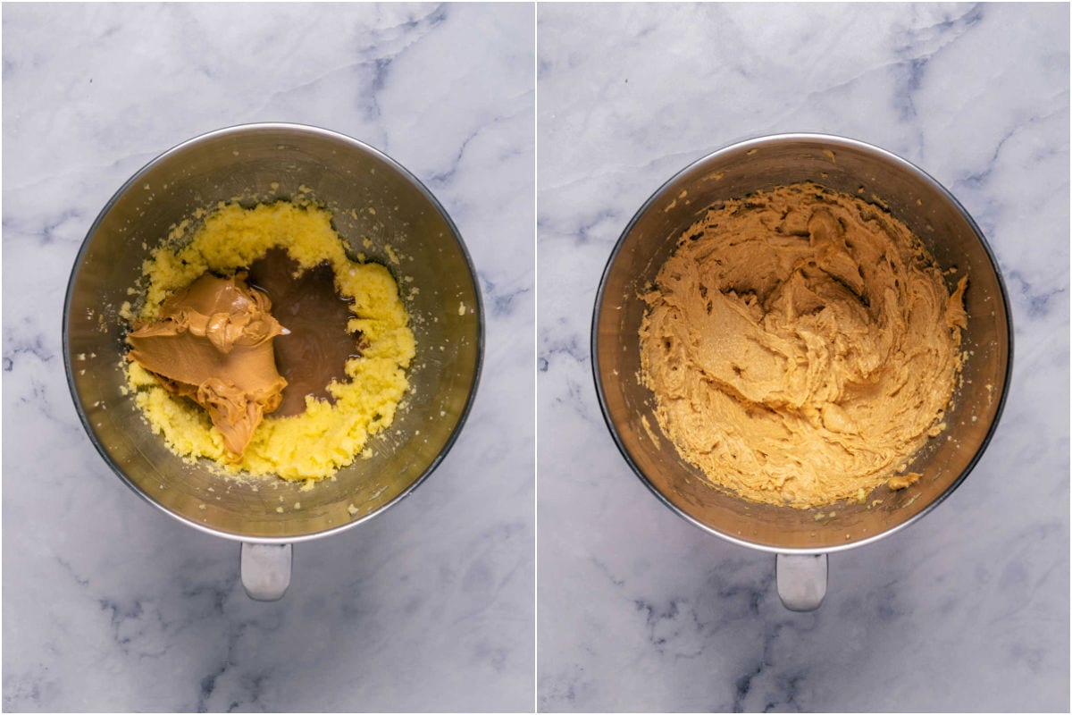 Two photo collage showing peanut butter, vanilla and milk added to stand mixer and mixed in.