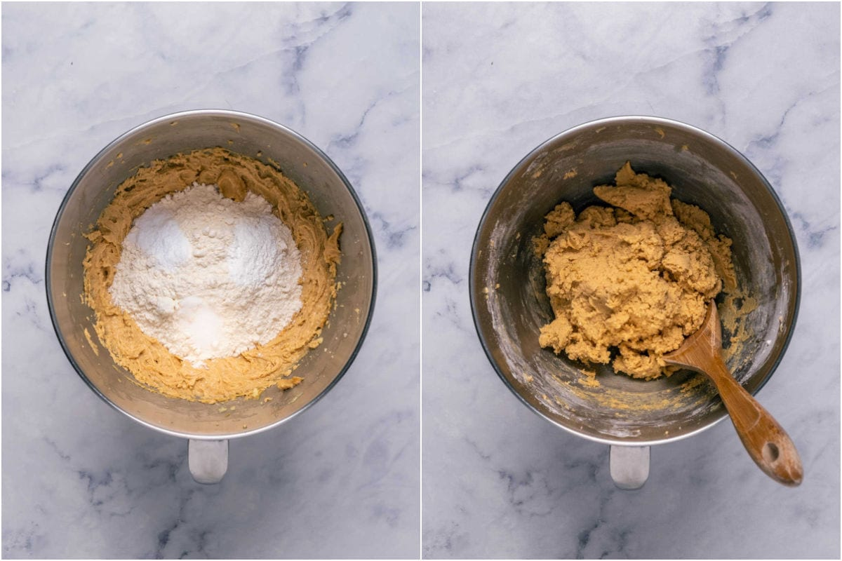Two photo collage showing dry ingredients added to wet and mixed in.