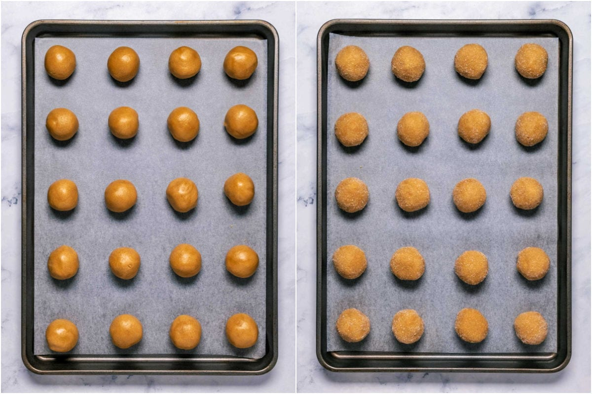 Two photo collage showing cookie dough rolled into balls and placed on baking sheet and then rolled in sugar.