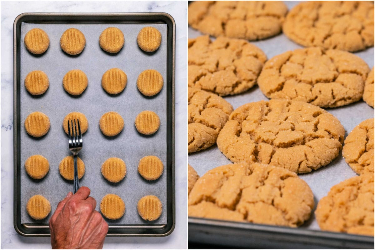 Two photo collage showing cookies before and after baking.