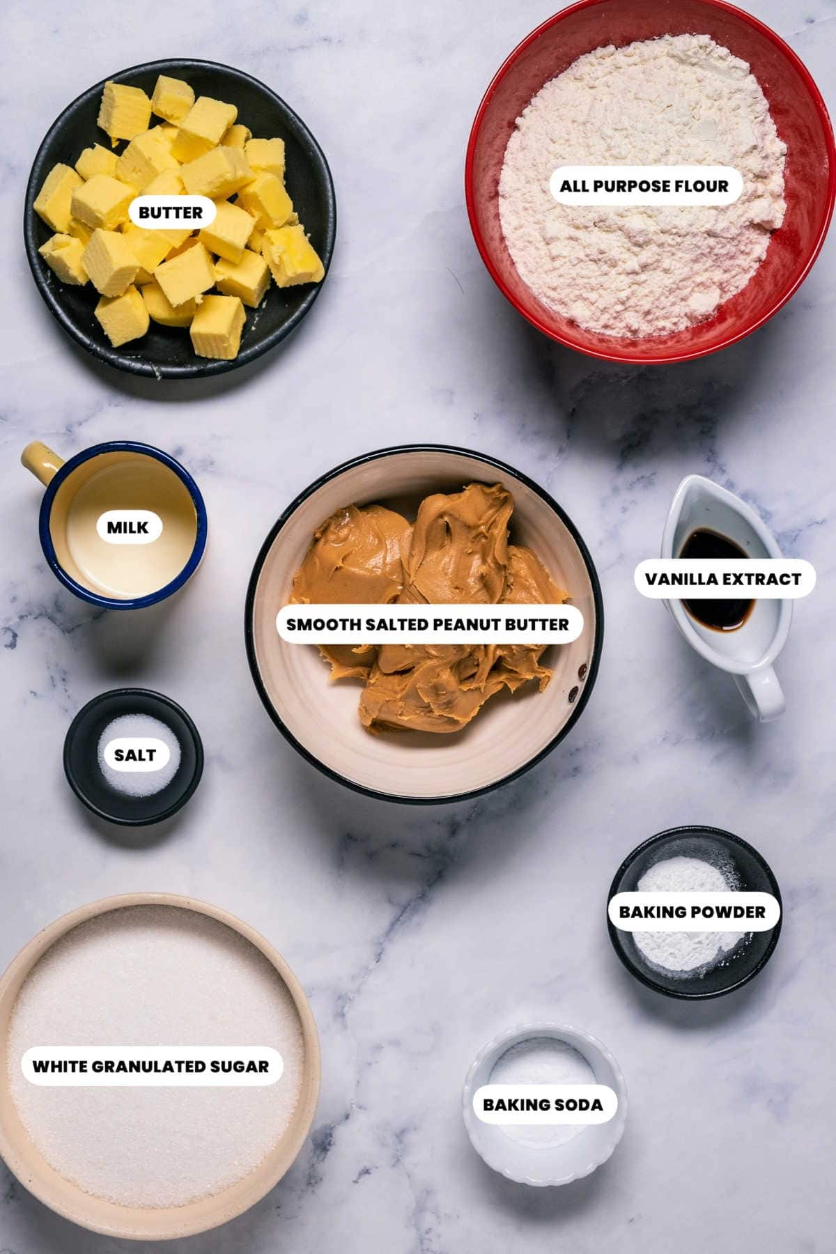 Photo of the ingredients needed to make eggless peanut butter cookies.