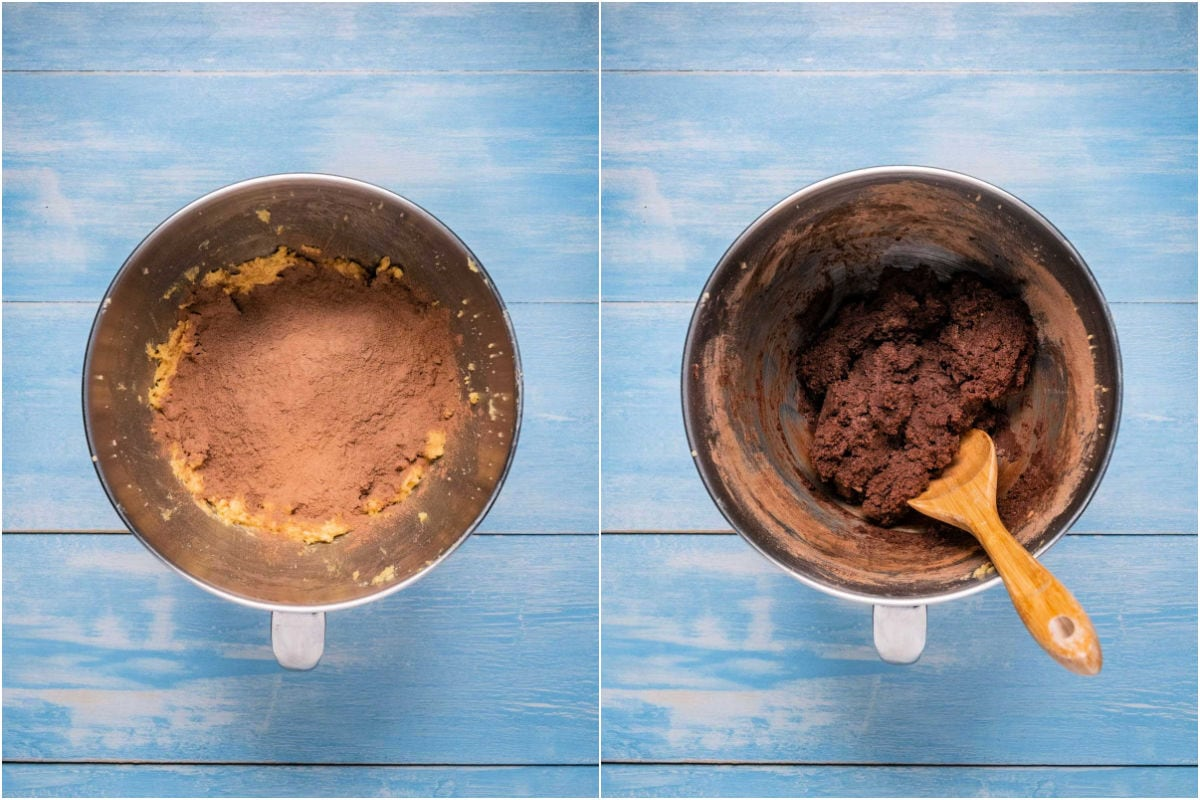 Two photo collage showing dry ingredients added to wet and mixed into a cookie dough.