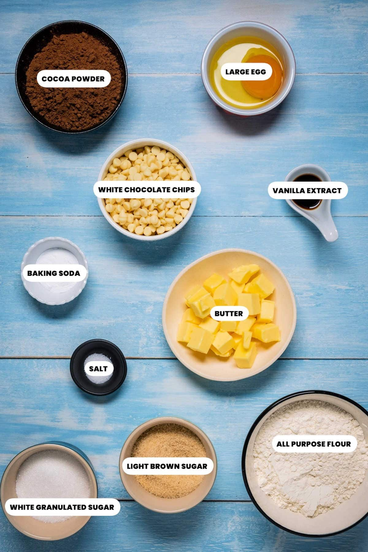 Photo of the ingredients to make inside out chocolate chip cookies.