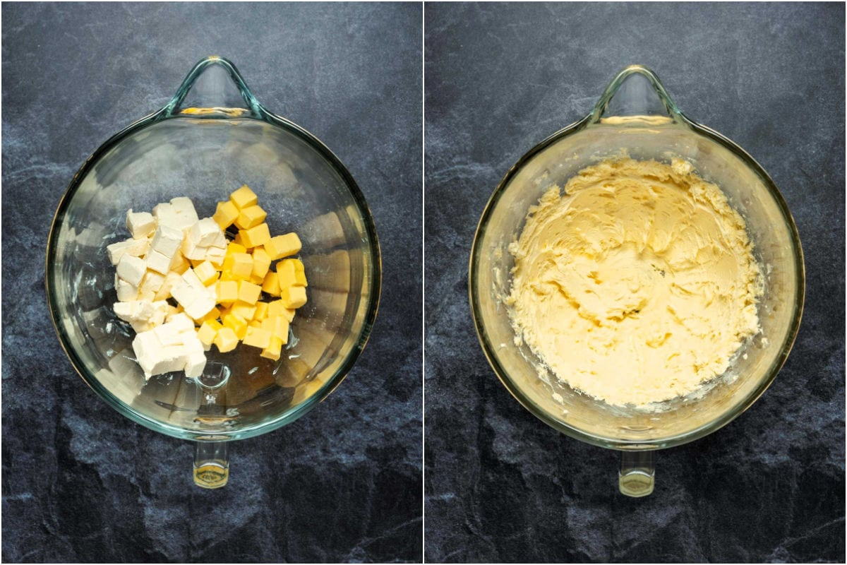 Two photo collage showing butter and cream cheese added to stand mixer and creamed together.