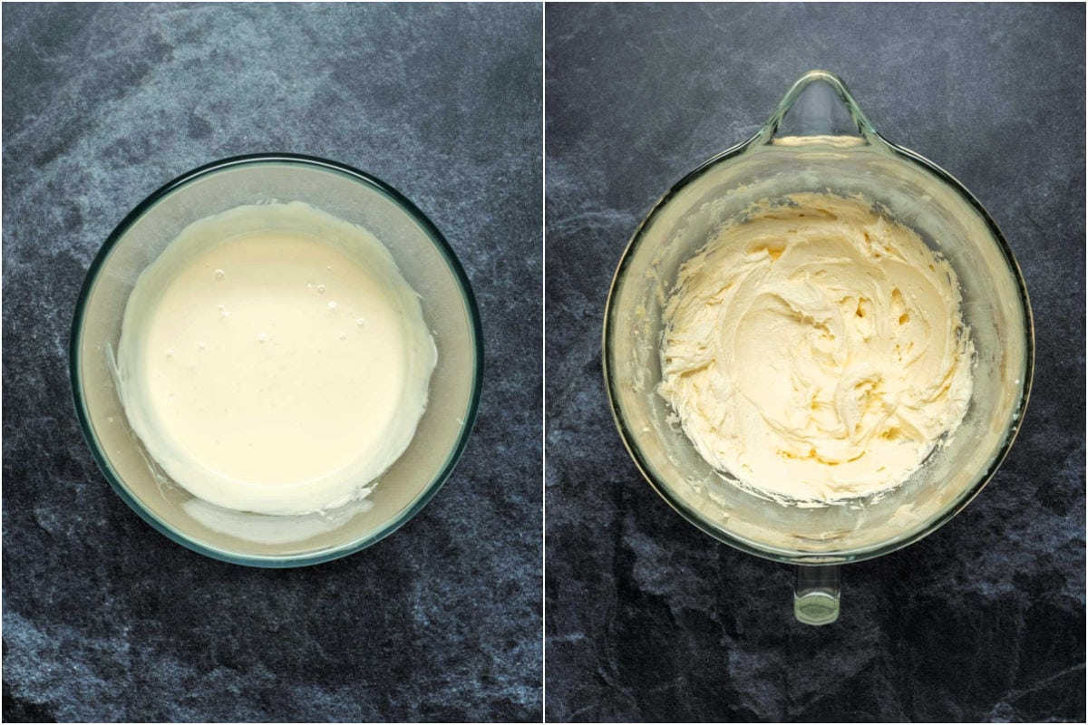Two photo collage showing melted white chocolate and then stand mixer with butter, cream cheese and white chocolate beaten together.