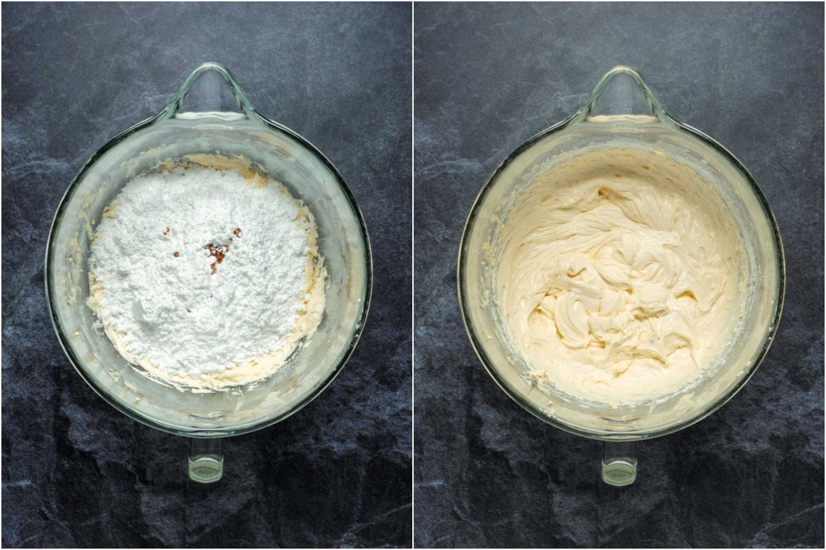 Two photo collage showing powderd sugar and vanilla added to stand mixer and then beaten in until smooth.