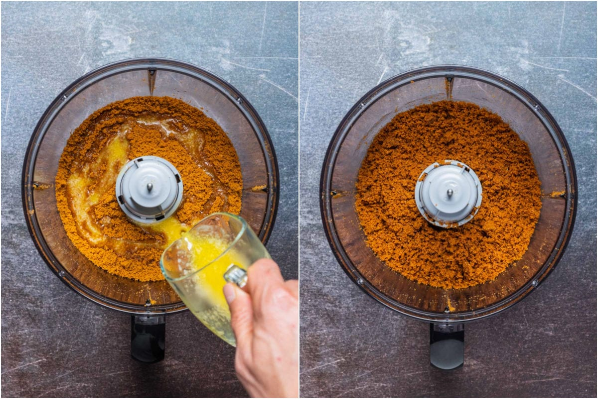 Collage of two photos showing melted butter added to cookie crumbs in food processor and processed until mixed.
