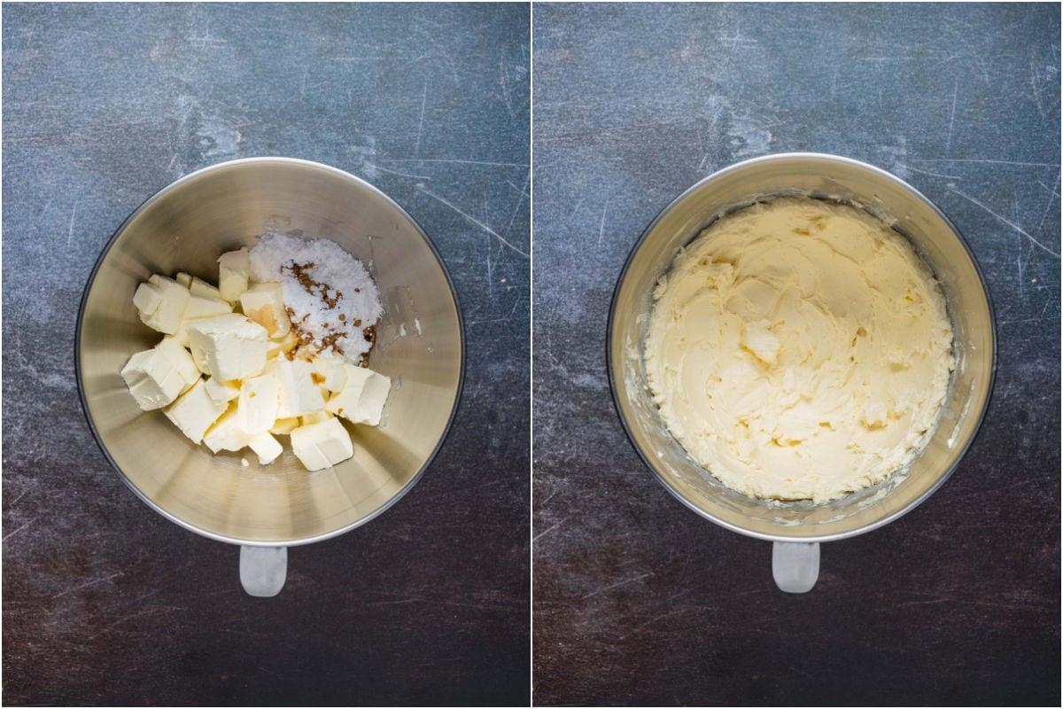 Two photo collage showing cream cheese, powdered sugar and vanilla added to stand mixer and mixed together.