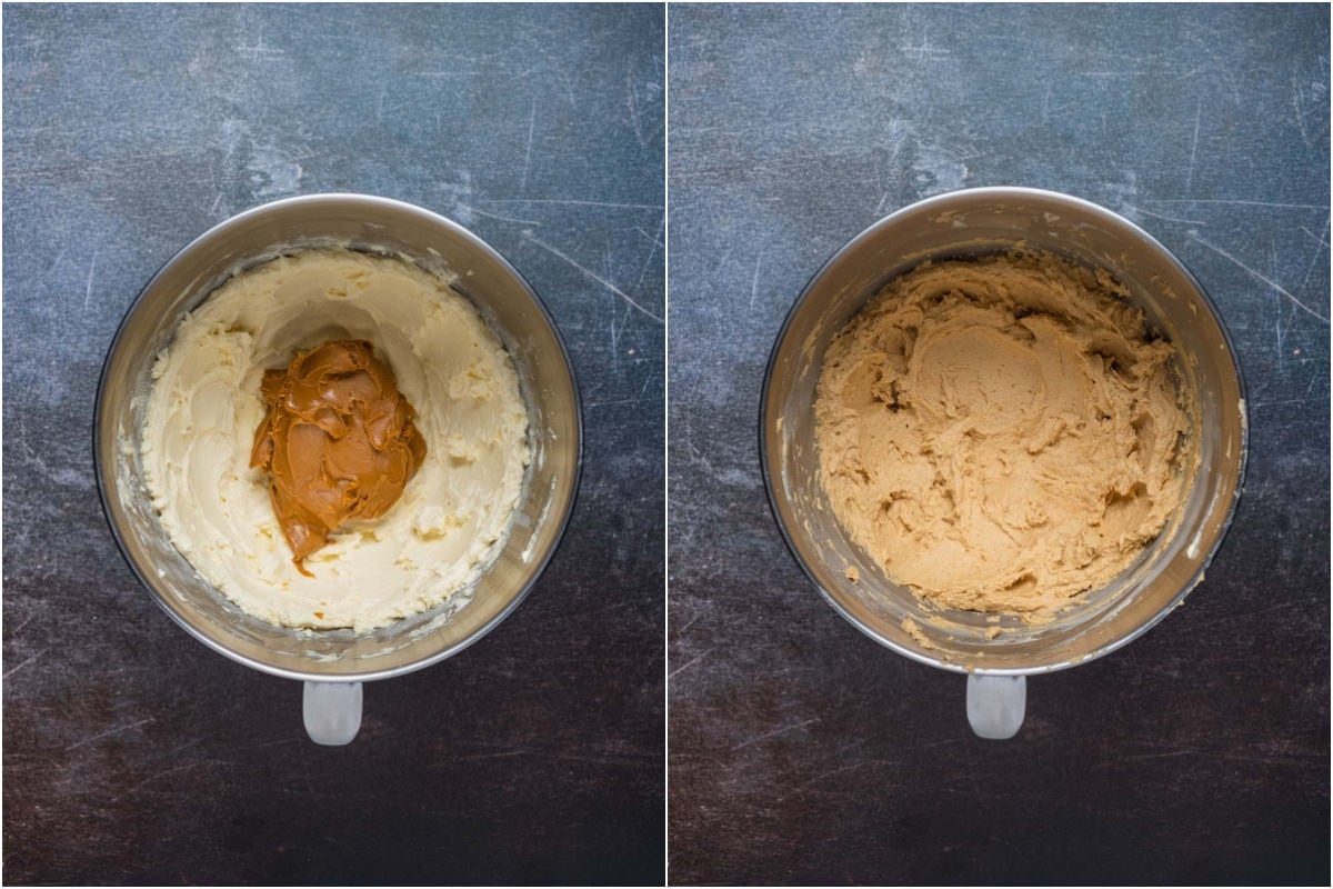 Two photo collage showing biscoff cookie spread added to stand mixer and mixed in.