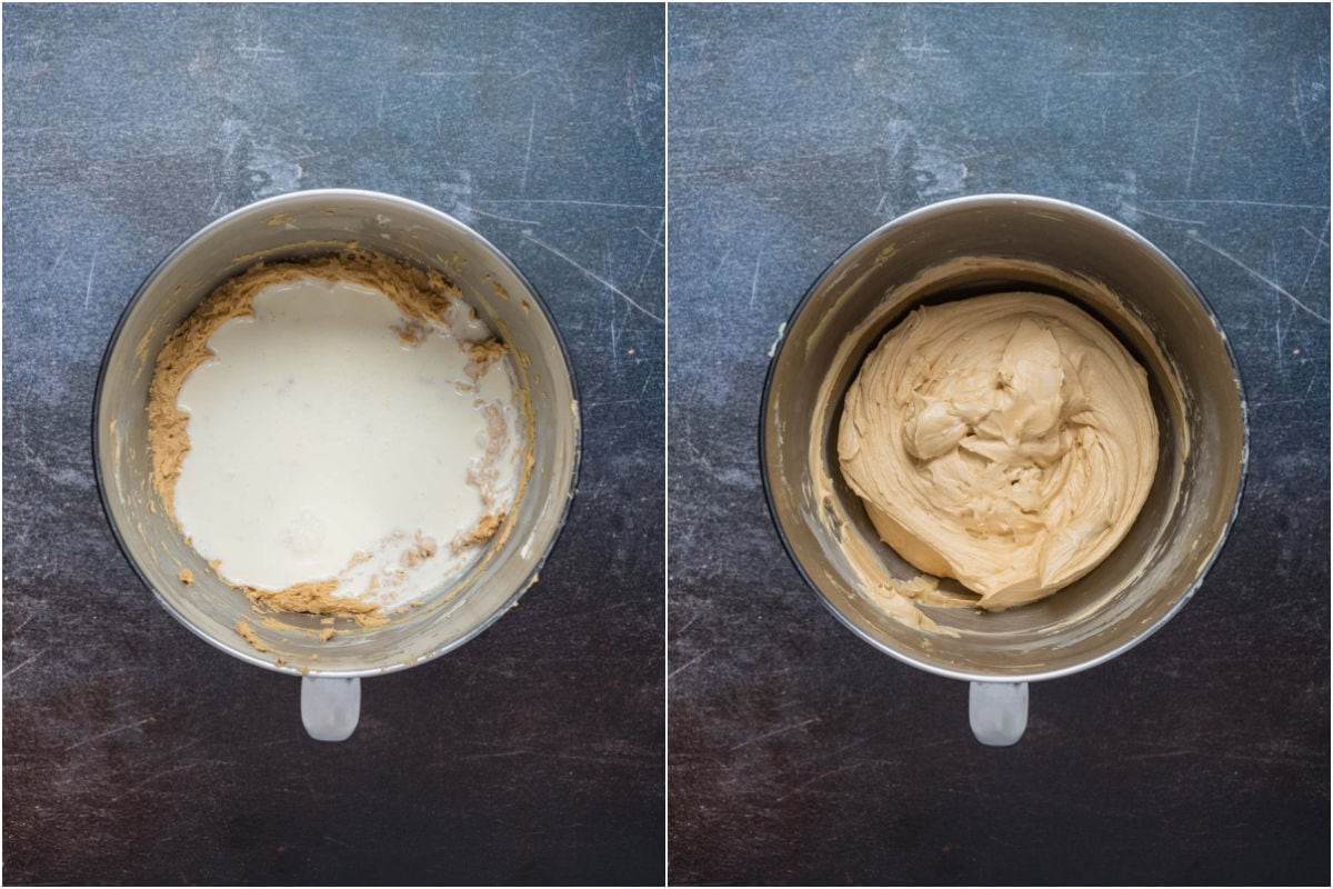 Two photo collage showing heavy cream added to stand mixer and mixed in until thickened.