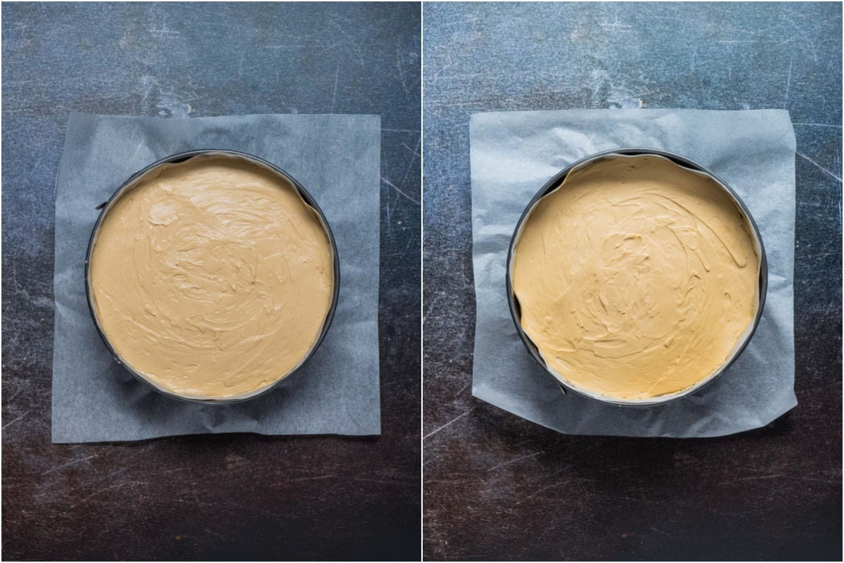 Collage of two photos showing cheesecake filling added to springform pan and smoothed down and refrigerated until set.