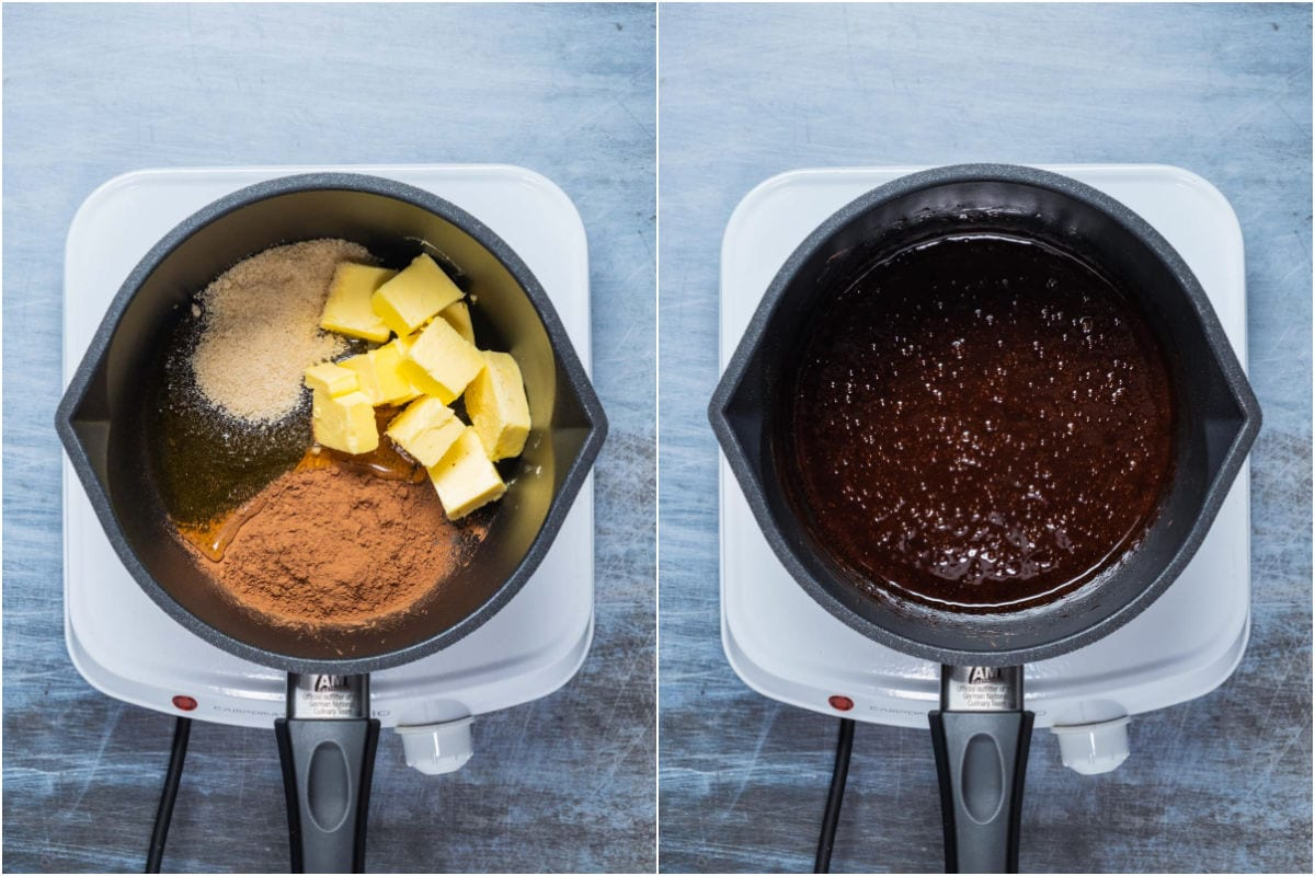 Collage of two photos showing butter, cocoa, sugar and honey added to saucepan and melted together.