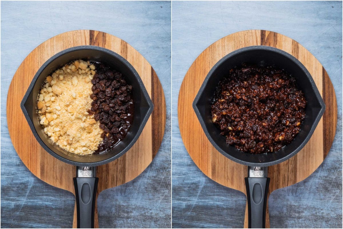 Collage of two photos showing crushed shortbread cookies and raisins added to saucepan and mixed in.