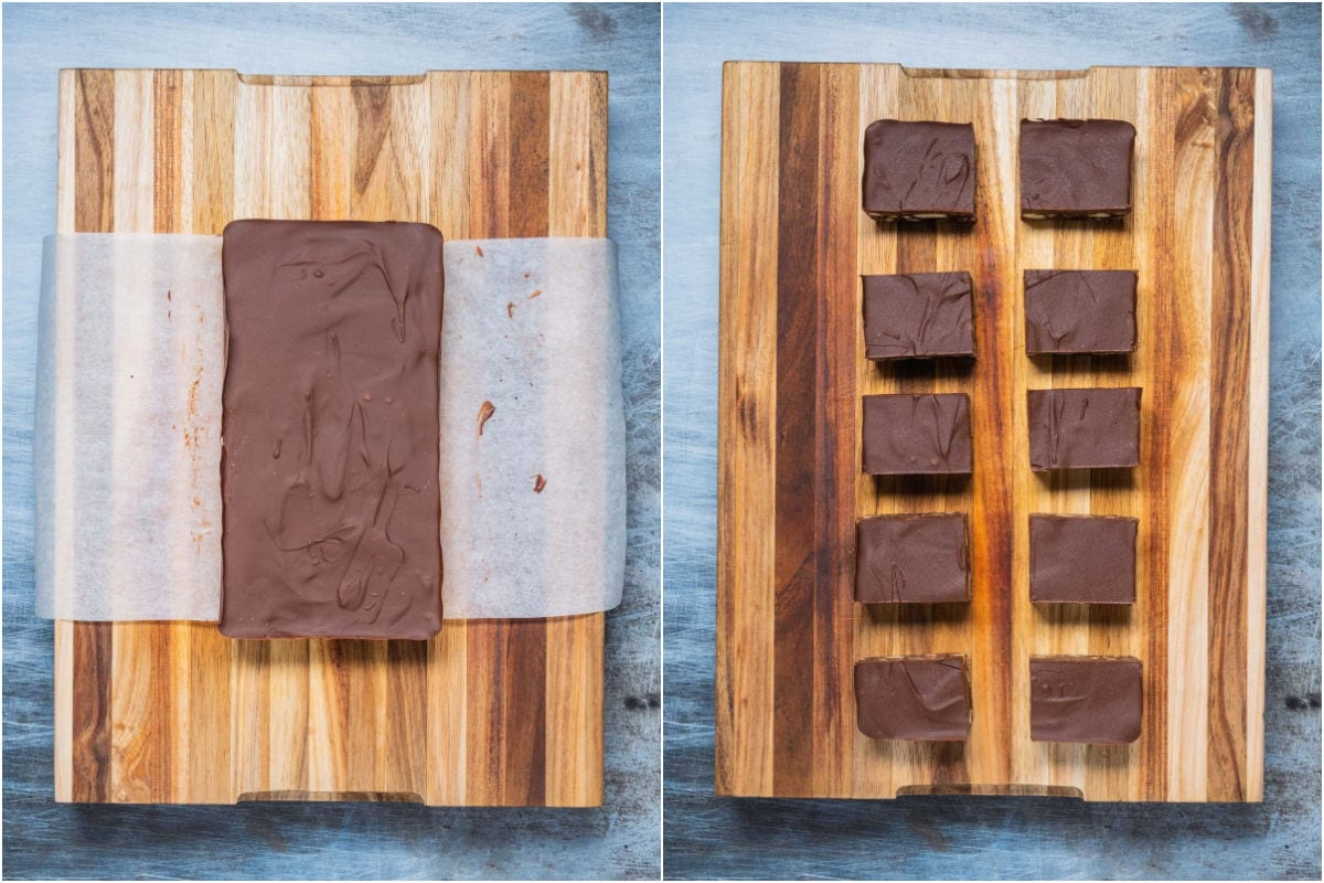 Two photo collage of the tiffin on a wooden board and then cut into squares.