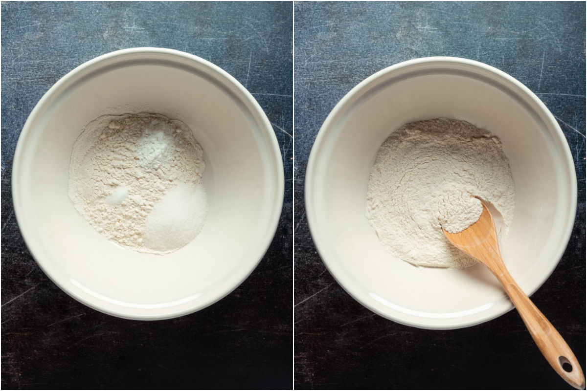 Collage of two photos showing dry ingredients added to a mixing bowl and mixed together.