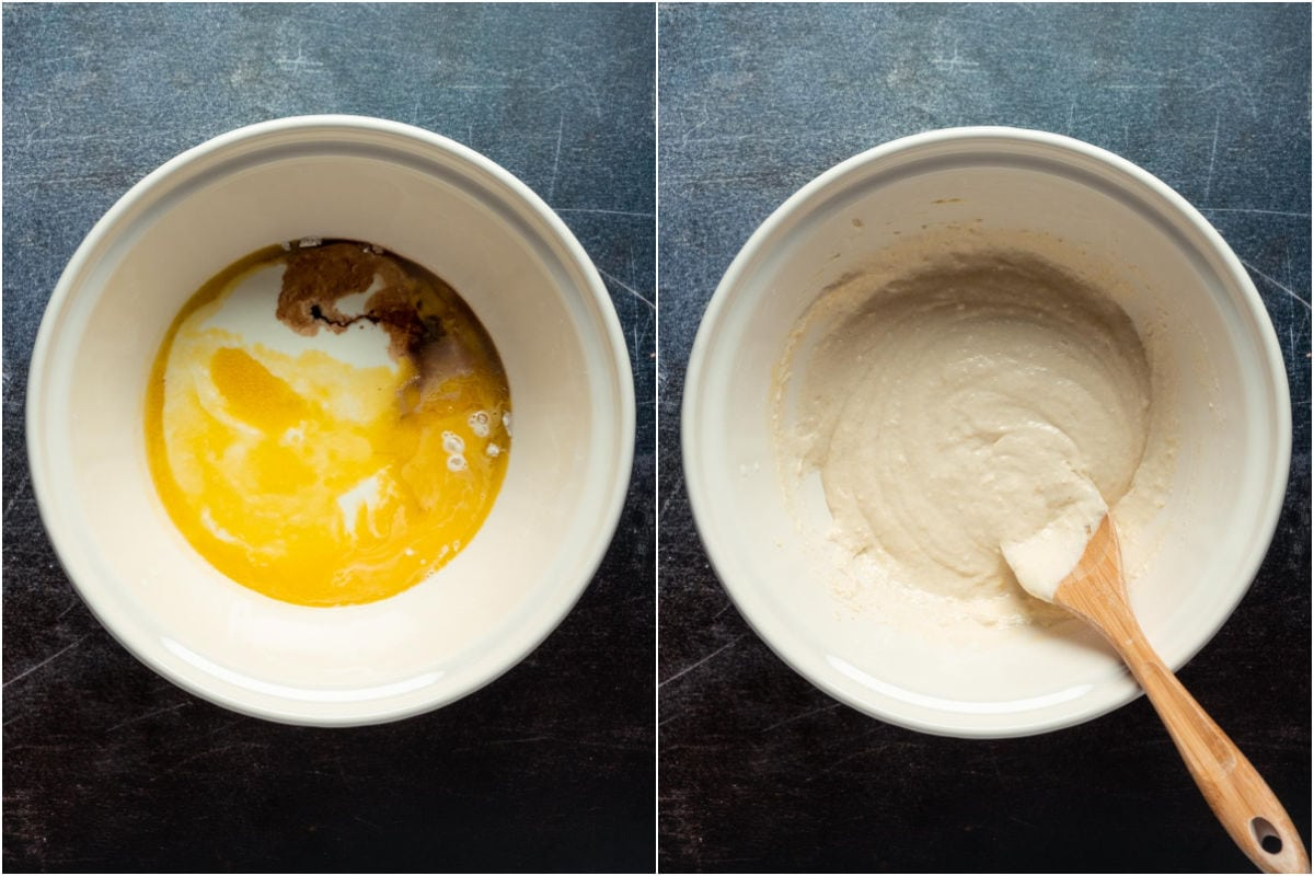 Two photo collage showing wet ingredients added to dry in a mixing bowl and mixed into a pancake batter.