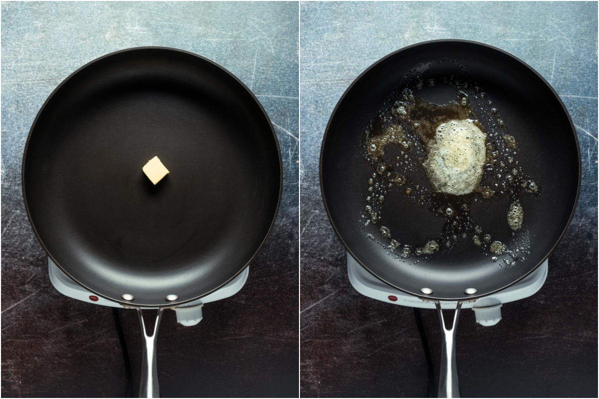 Two photo collage showing butter added to frying pan and melted.