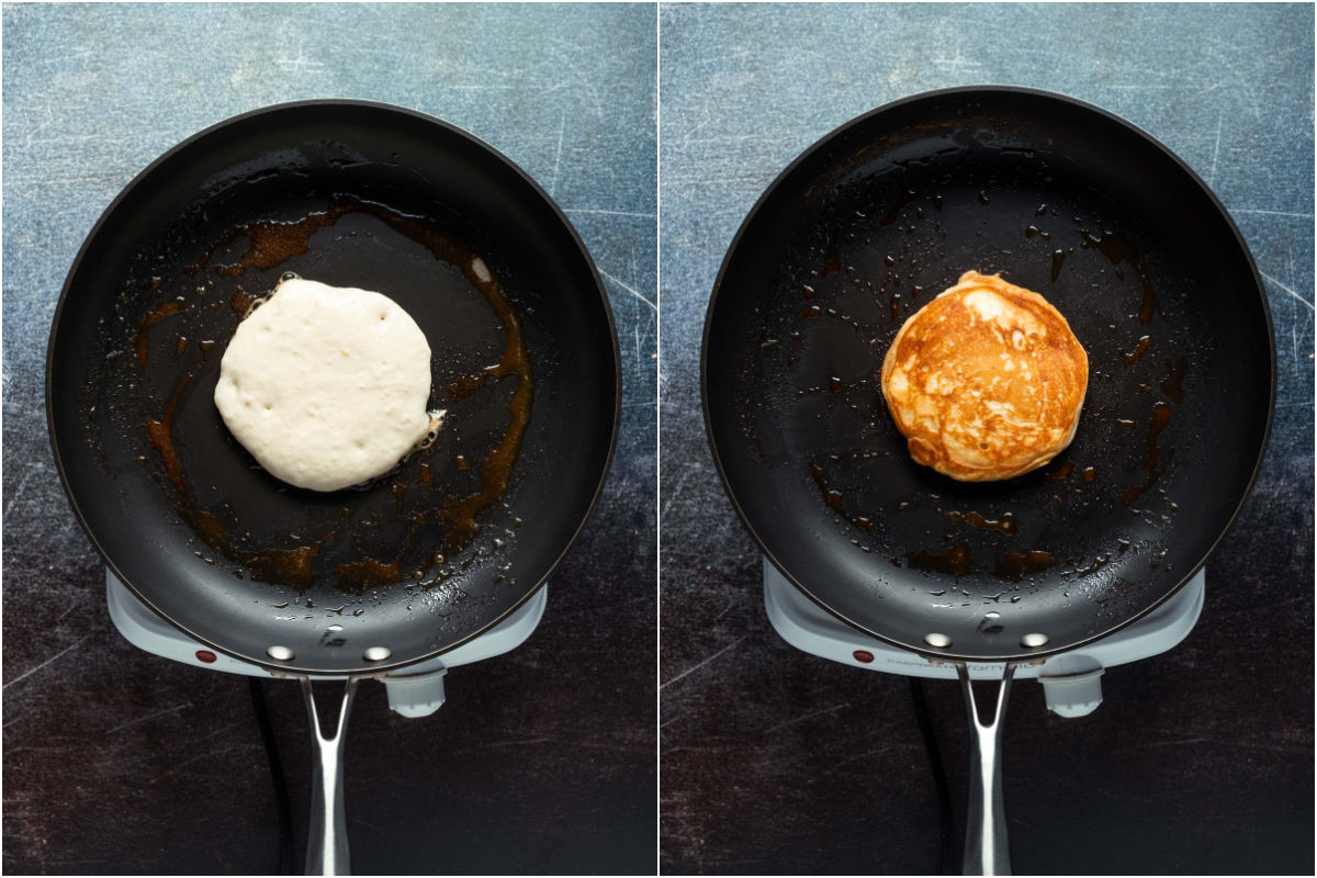 Two photo collage showing pancake batter added to frying pan and then flipped over.
