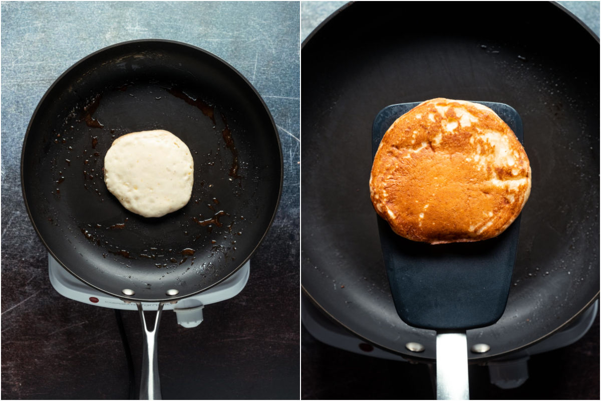 Two photo collage showing pancake cooking on one side and then flipped over.