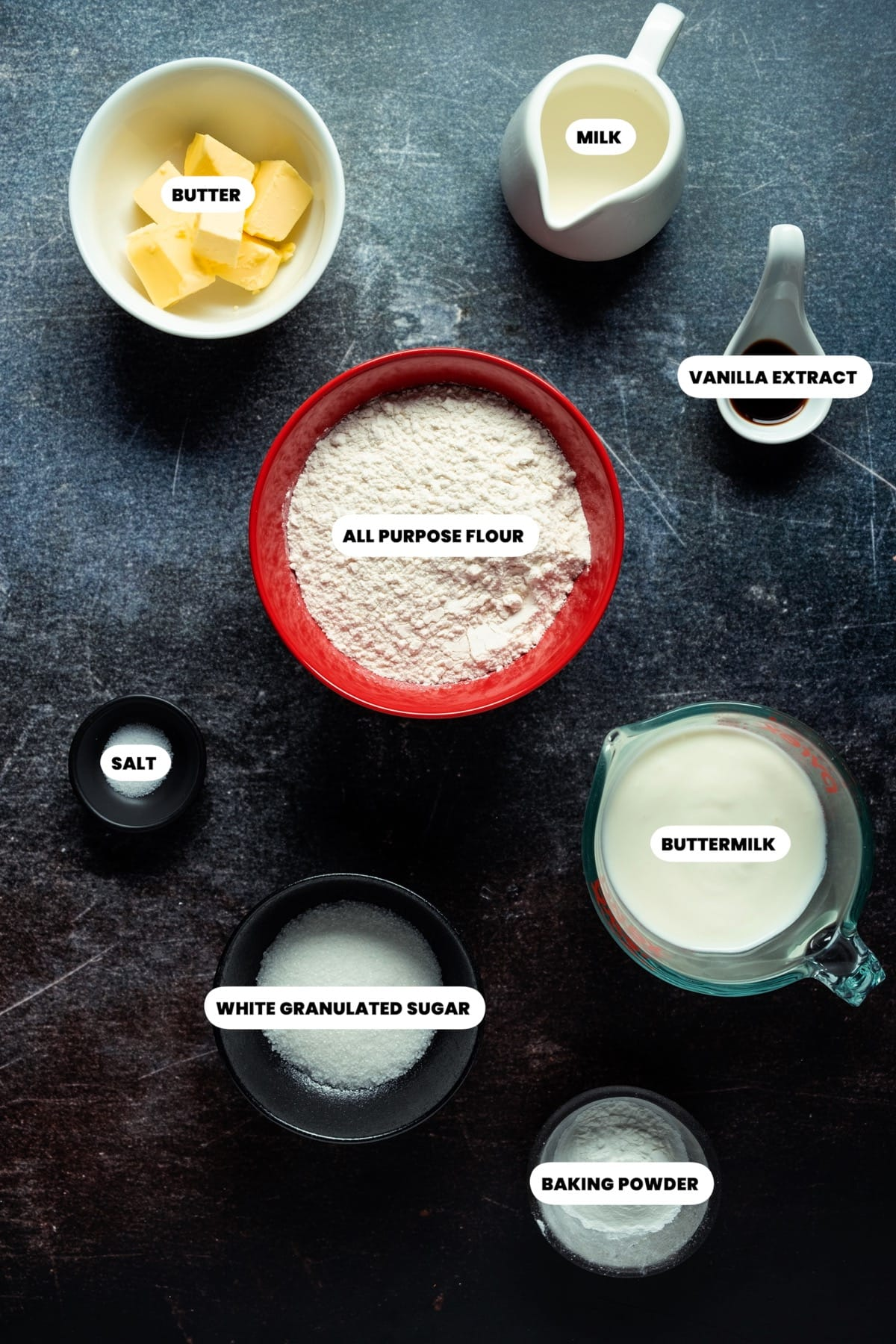 Photo of the ingredients needed to make eggless pancakes.