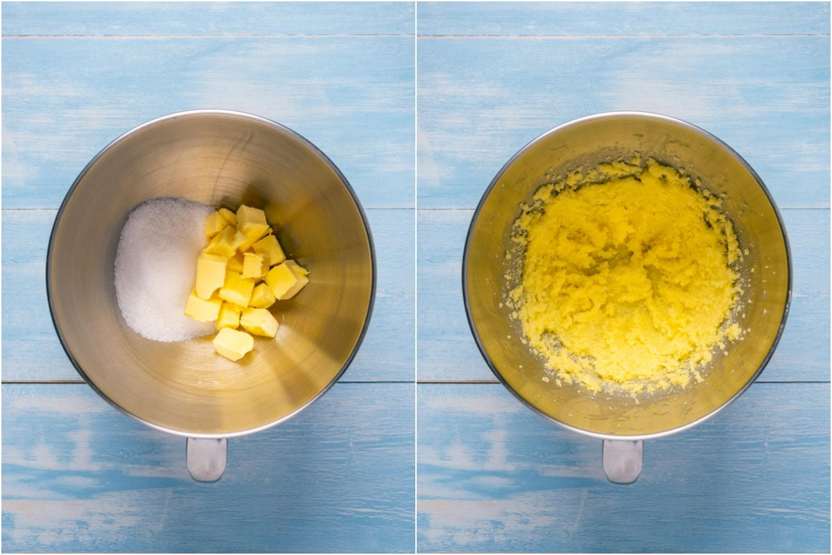 Collage of two photos showing butter and sugar added to stand mixer and creamed together.