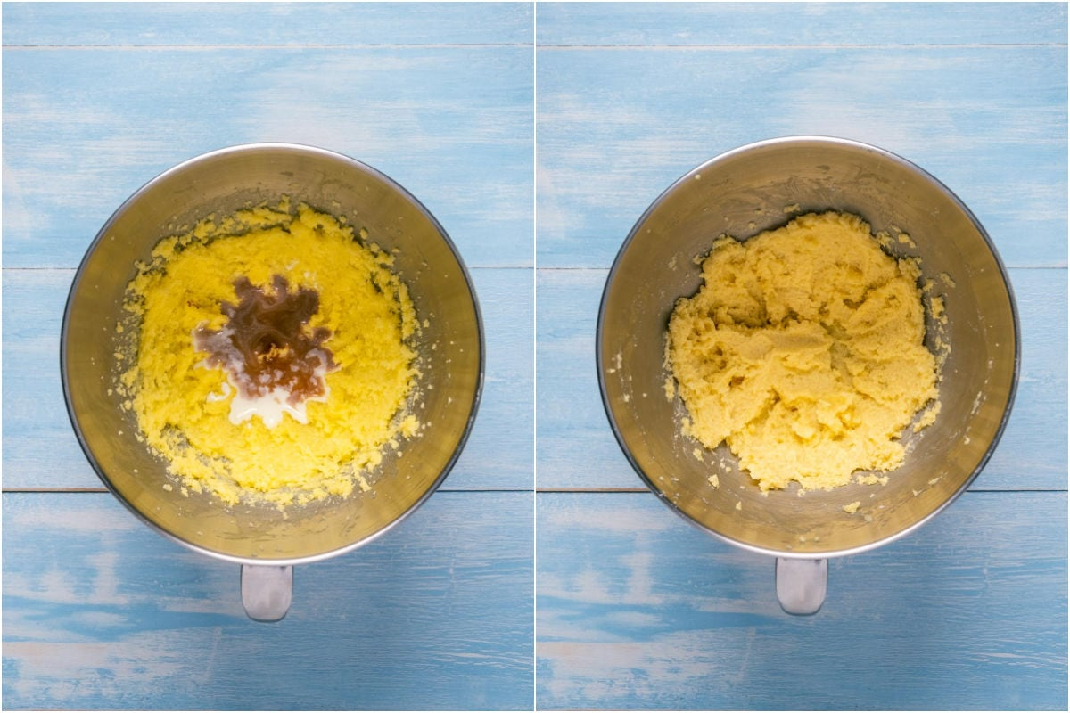 Collage of two photos showing vanilla, almond extract and milk added to stand mixer and mixed in.