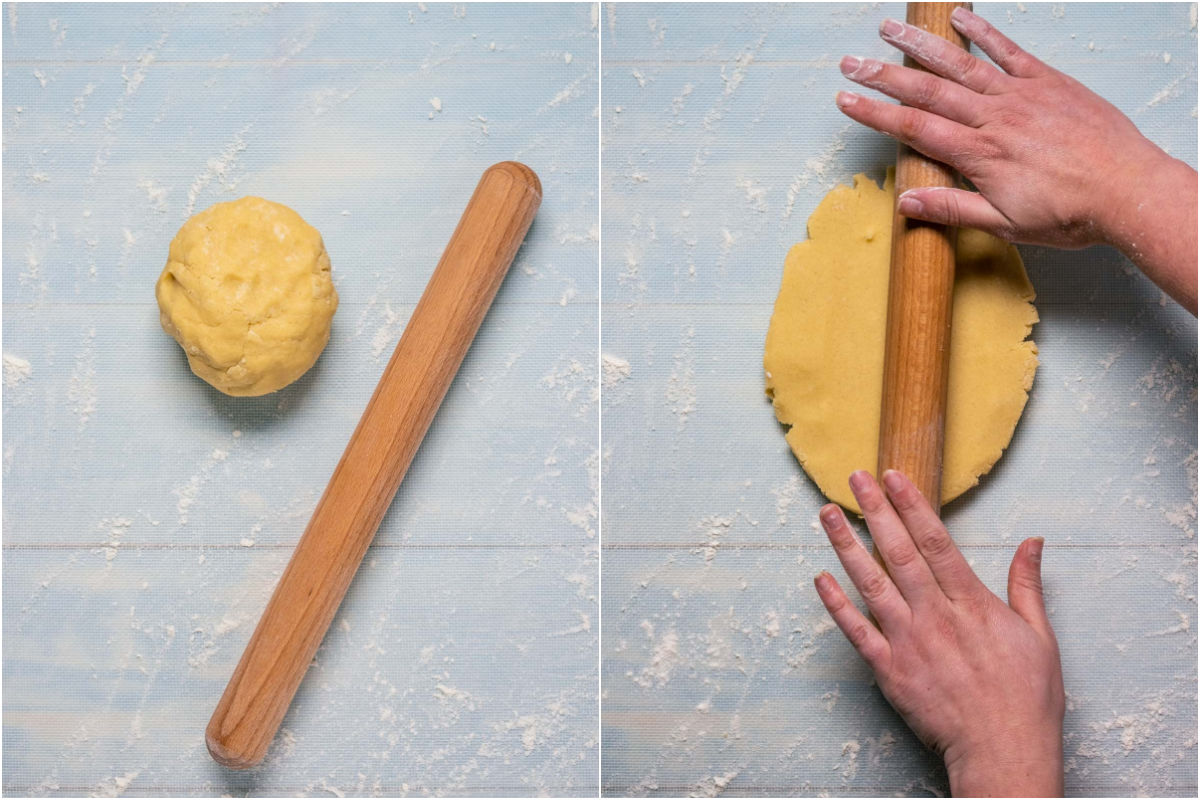 Collage of two photos showing ball of dough moved to lightly floured surface and then rolled out with a rolling pin.