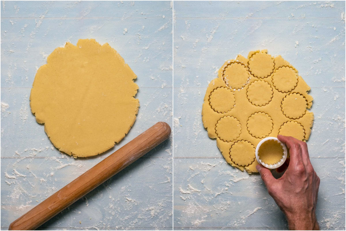 Collage of two photos showing rolled out dough and then the dough being cut out with a cookie cutter.