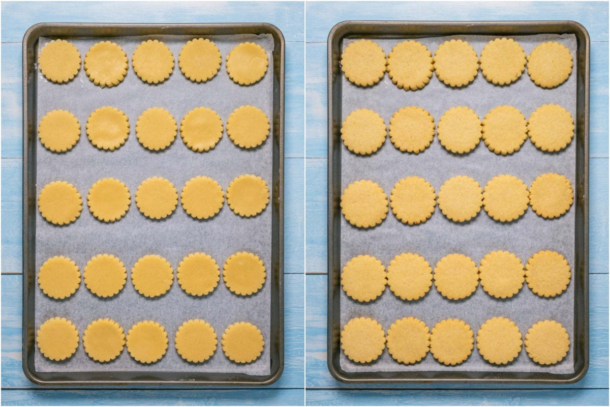 Collage of two photos showing cookies on a baking tray before and after baking.