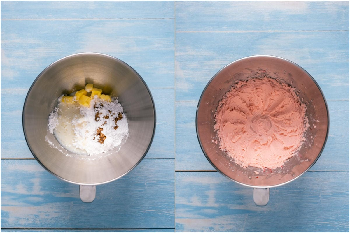 Collage of two photos showing ingredients for frosting added to stand mixer and mixed into a frosting.