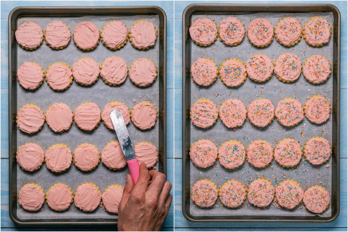 Collage of two photos showing the cookies being frosted and then topped with sprinkles.
