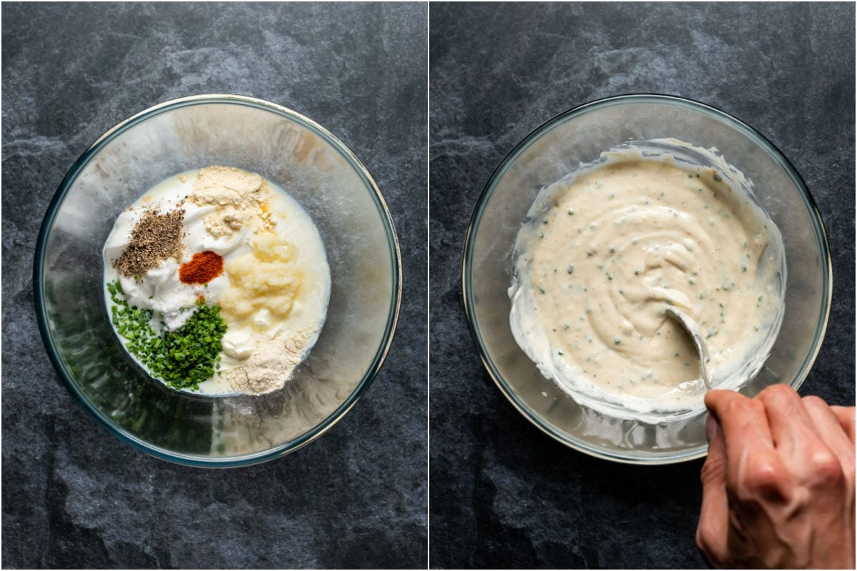 Collage of two photos showing ingredients added to glass bowl and mixed together.