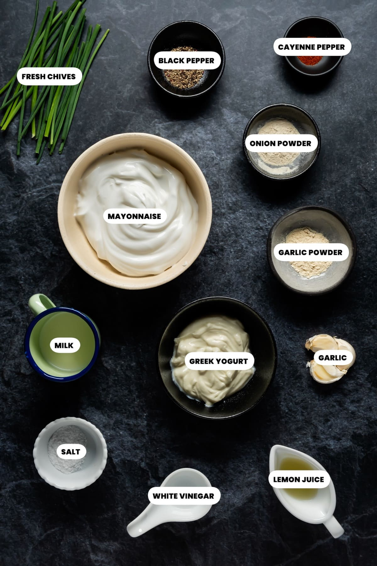 Photo of the ingredients needed to make garlic dip.