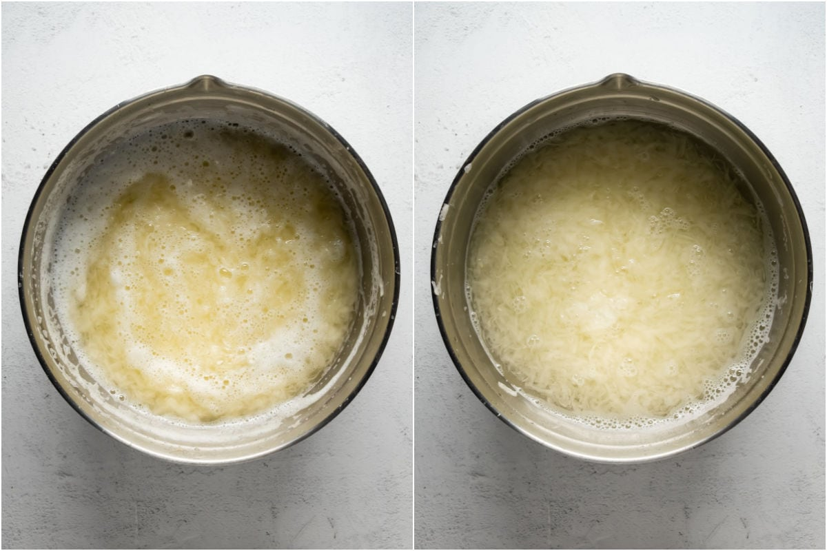Two photo collage showing shredded potatoes soaking in a bowl of cold water.