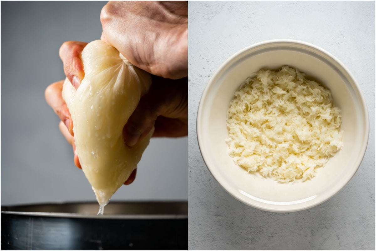 Two photo collage showing shredded potatoes in a tea towel squeezing out the excess water and then in a bowl.