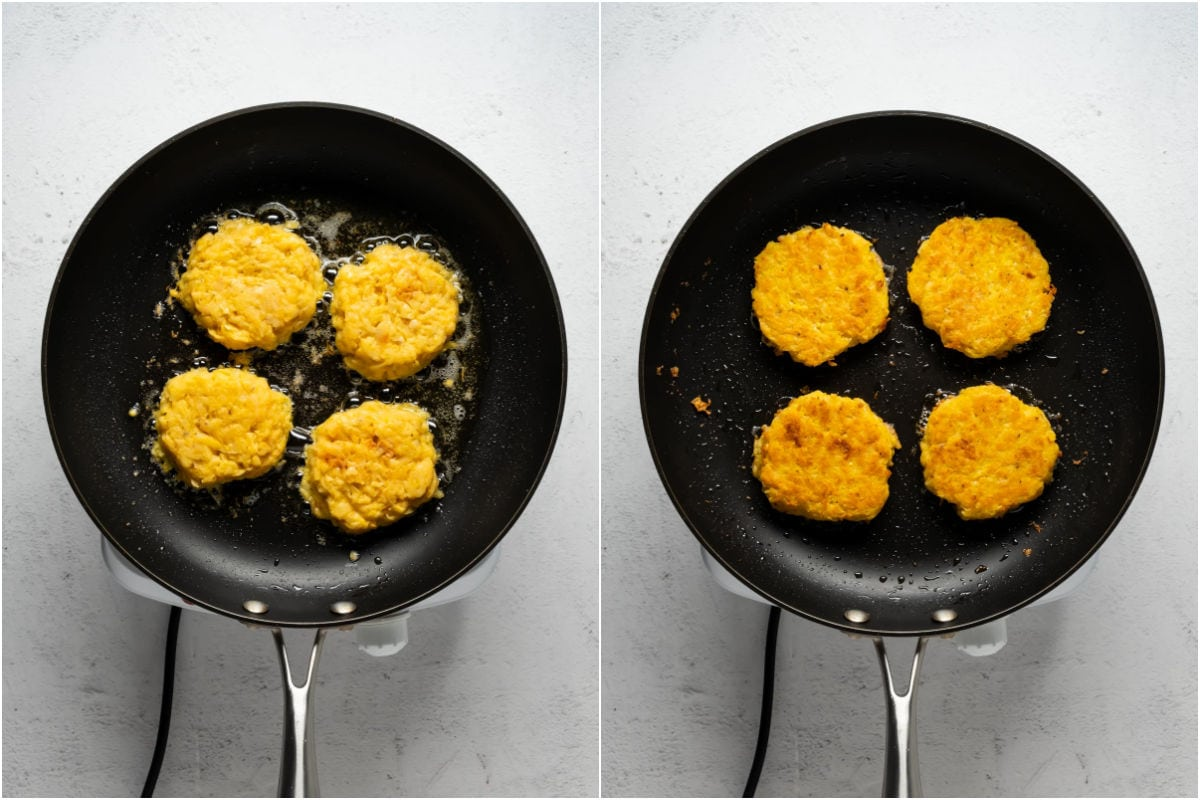 Collage of two photos showing potato fritters frying in a frying pan and then flipped over.