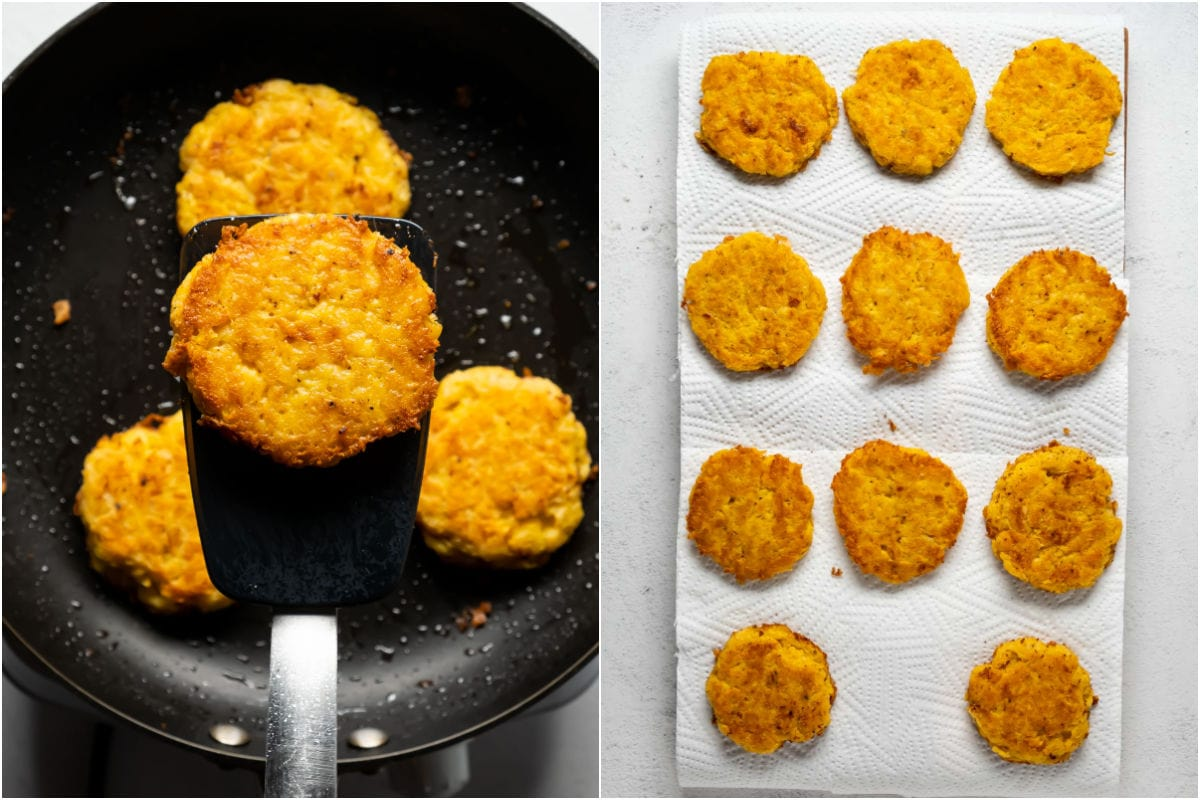 Collage of two photos showing cooked potato fritters coming out of the frying pan and moved to a paper towel.