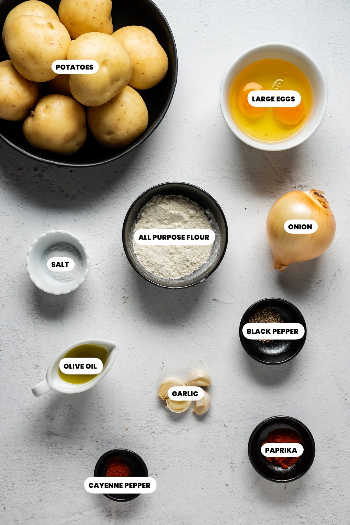 Photo of the ingredients needed to make potato fritters.