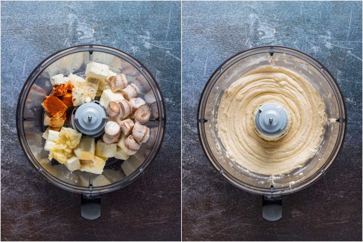 Collage of two photos showing ingredients added to food processor and processed.